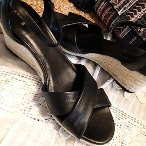 d48d722d42c Cole Haan Shoes - Cole Haan Black Wedge Sandals Nike Comfort Soles